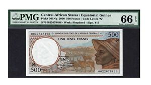 Central African States PMG Certified Banknote UNC 66 EPQ Gem 2000 500 Francs 501