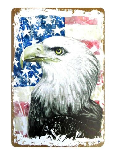 US Seller home decor accents American flag bald eagle tin metal sign