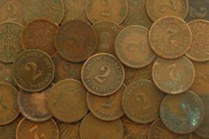 32 Nur Alte Deutsche 2 Pfennig Münzen Kaiserreich T17 Ebay