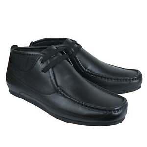 Deakins-Hombre-Ninos-mildert-2-negras-zapatos-de-piel-para-Colegio