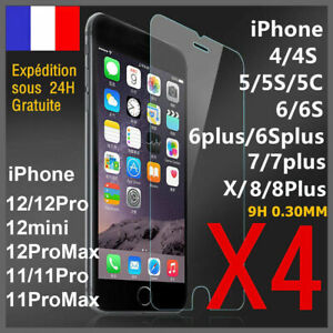 Vitre protection écran film verre trempé iPhone 8 7 6 5 XR X XS 11 12 PRO MAX SE