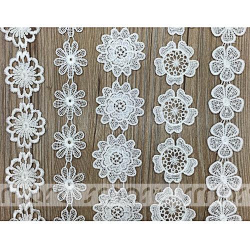 2 Yards White Vintage Fabric Crochet Polyester Lace Trim Ribbon Embellishment