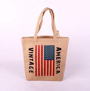 Stoffbeutel-America-Vintage-Beutel-Tragetasche-Tasche-Einkaufstasche-Jutebeutel