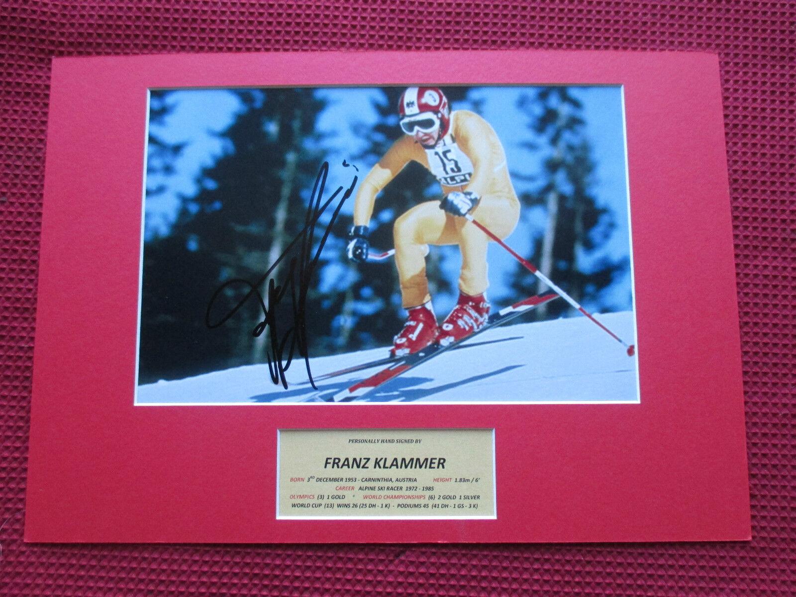 FRANZ KLAMMER CHAMPION SKIER GENUINE HAND SIGNED A3 MOUNTED PHOTO DISPLAY - COA