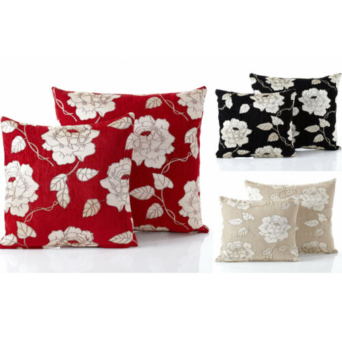 Contemporary Chenille Rose Damask Floral Pattern Red Cream Black Cushion Covers