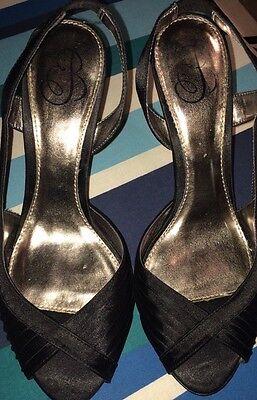 Barratts Negro satinado Slingback Stiletto Zapatos Talla 6/39