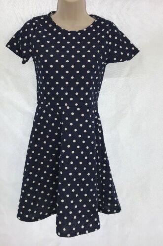 Debenhams Bluezoo Textured Spotted Navy White Polka Skater Dress Age 12-13 DD48