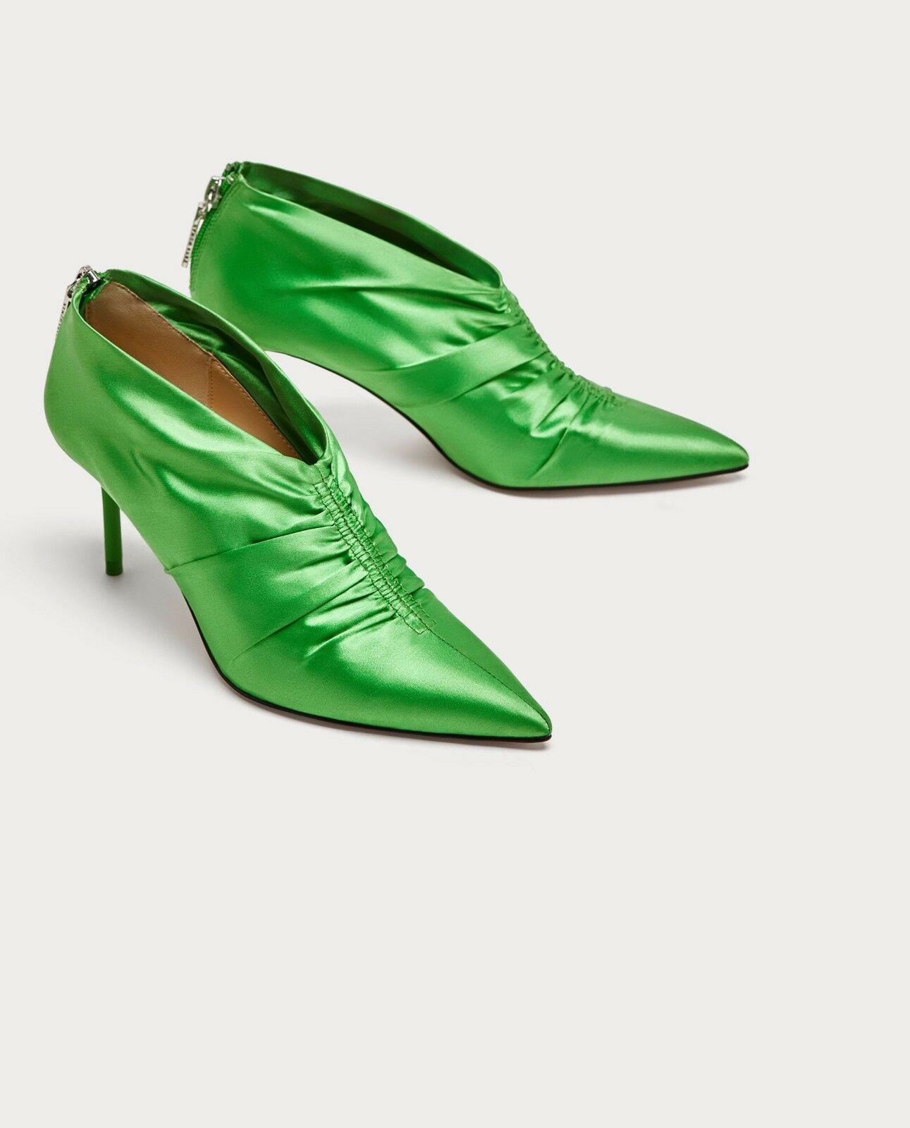 ZARA NEW HIGH HEEL ANKLE BOOTS WITH GATHEROT DETAIL GREEN 5120/201