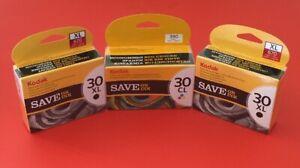 2 X Genuine Kodak 30 Xl Noir + 1 X 30 Cl Couleur Cartouches D'encre-nouveau-bundle-afficher Le Titre D'origine Emballage Fort