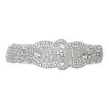 Bridal Sash Wedding Dress Belt Bride Wide Vintage Silver Diamante Ivory B122