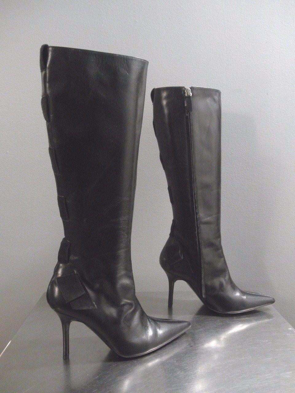 Authentic Valentino Garavani Black Leather Boots Size 36    1 2 Made in  350b37