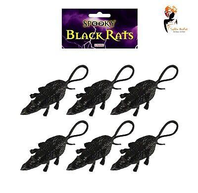 6 X Halloween Plastique noir Rats Prop Trick Traiter Fête Décor Effrayant Effrayant UK