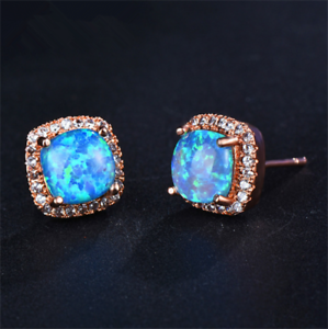 1 Pair Woman Fashion Rose Gold  Blue Fire Opal Charm Stud Earring NEW !!!