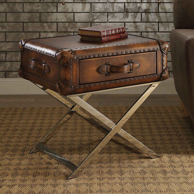 Aberdeen Trunk Style End Side Table Stand Drawer Top Grain Leather Vintage Mocha 840412115790 Ebay