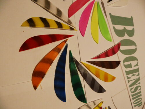 """3/"""" 4/"""" 5/"""" Parabol rechts Befiederung uni fluo barred zebra Naturfedern 12 Stck"""