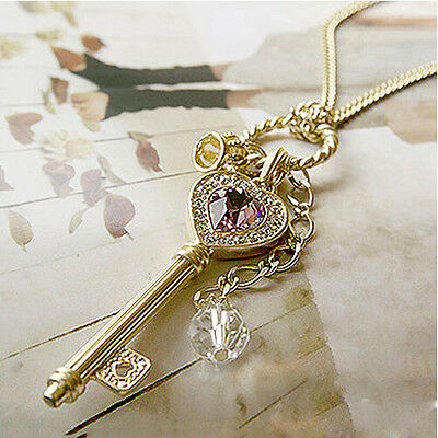 Womens Fashion Amethyst Love Golden Crown Key Pendant Long Chain Necklace