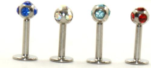 1.2 X de 6mm Multi Gem Labret Helix cartílago oreja tragus Bar opción de 4 Colores