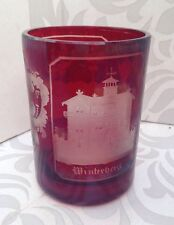 Antique Vintage Cranberry Glass Vase Etched Scene Germany Bastei Winterberg 1890