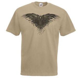 Mens-Khaki-Three-Eyed-Raven-T-Shirt-Game-Of-Thrones-Unofficial-Fan-Art-Top