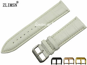 100% Genuine Leather 16mm -24mm Women White Watch Band Strap Bracelet Clasp Belt