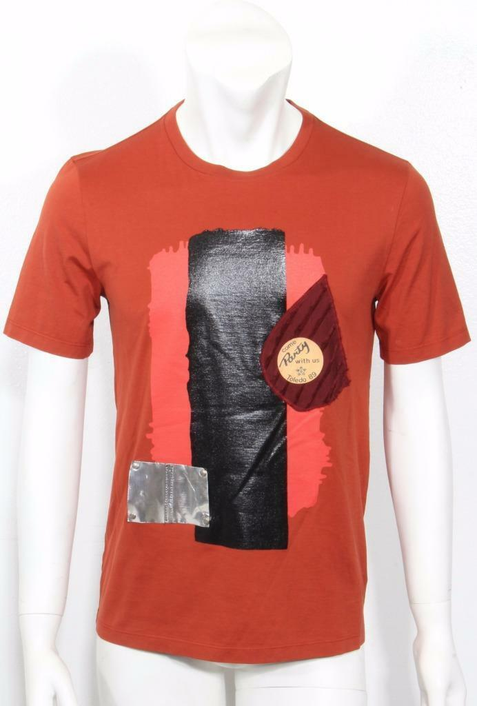MAISON MARTIN MARGIELA Mens Rust Graphic Patch T-Shirt 40-50 NWT  460