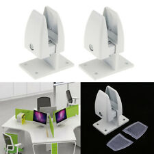 2x Desk Partition Support Bracket Privacy Screen Glass Fixed Pin White