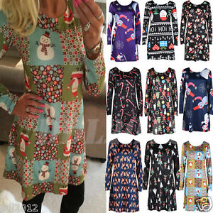 New-Fashion-Women-039-s-Ladies-Long-Sleeve-Christmas-Swing-Flared-Party-Dress-Tops