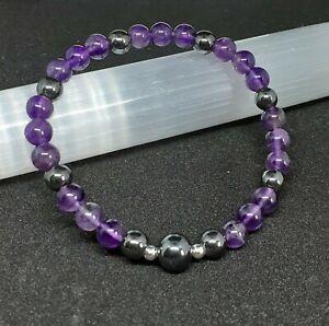 Amethyst Third Eye Chakra Stretch Bracelet. Gemstone reiki healing crystal
