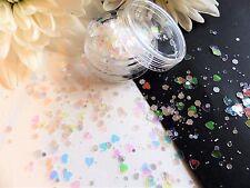 NAIL Art grosso * Mine * Olografica Iridescente Glitter Mix CUORE Hex Spangle Pot