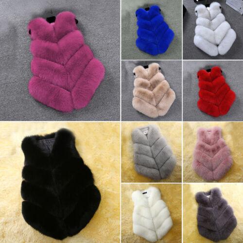 Women Faux Fur Waistcoat Jacket Coat Sleeveless Body Warmer Gilet Outwear Winter
