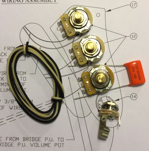 taot jazz bass® wiring kit  cts 250k solid shaft pots 047 orange drop cap
