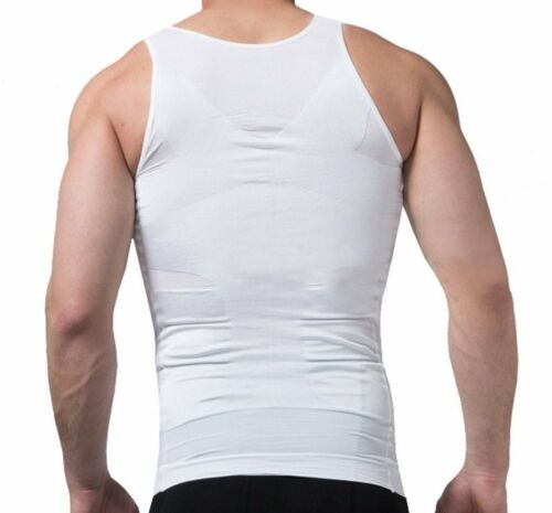 Powerful Mens Slimming Body Shaper Vest Slim Chest Belly Waist Boobs COMPRESSION