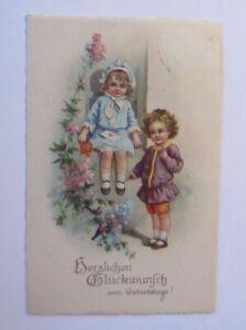 034-Geburtstag-Kinder-Blumen-Vogel-034-1933-Serie-Erika