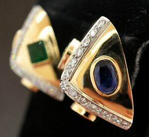Vintage 14k Yellow Gold 2.66ct Pear Shaped Natural Aquamarine Stud Earrings
