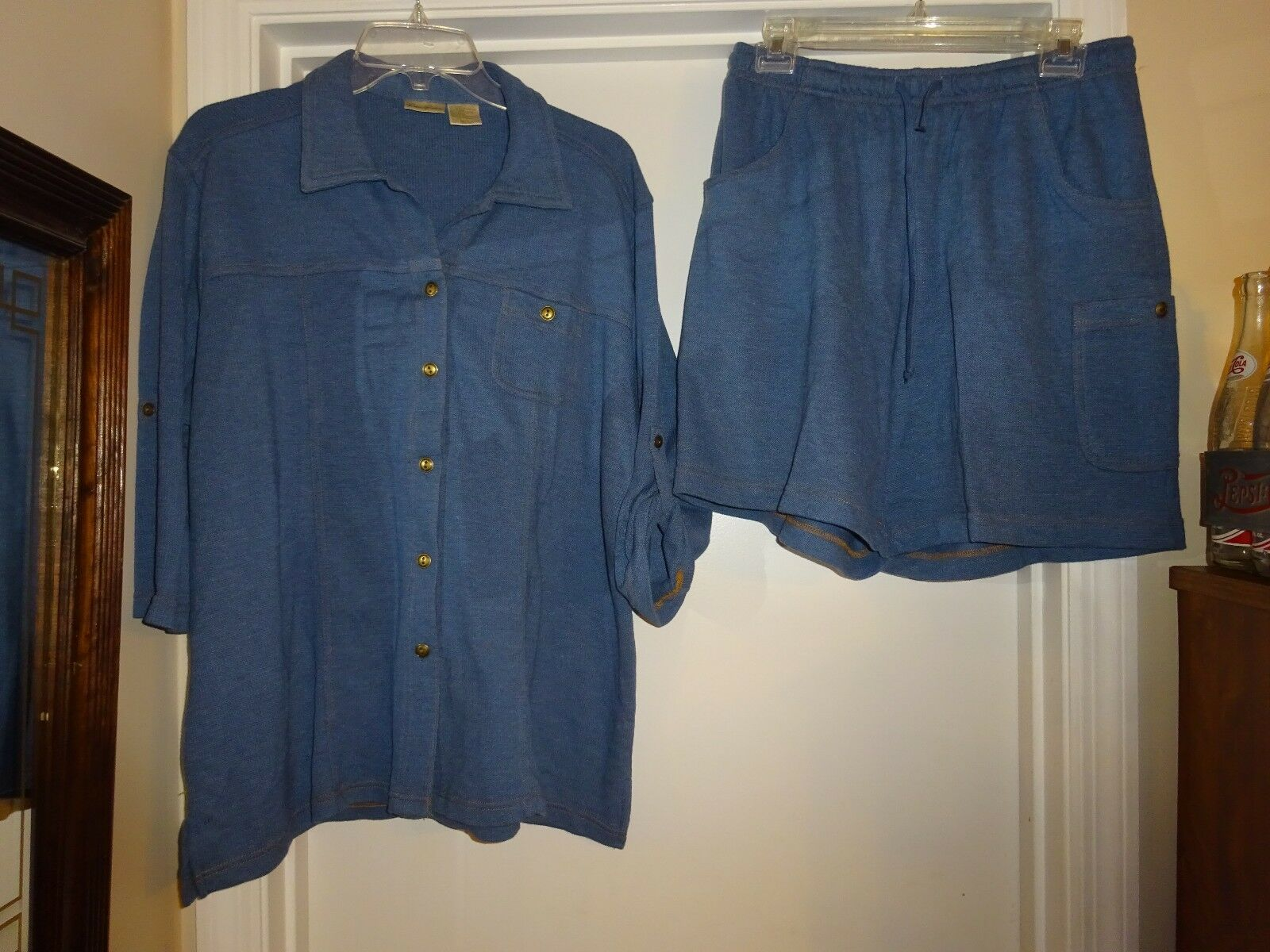 Bobbie Brooks 2 Pc Set Off bluee Large Shorts & XL 3 4 Sleeve Blouse Poly Cotton