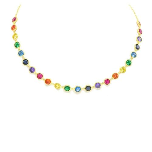 14K Or Jaune Finition Rainbow Multi couleur collier tour de cou