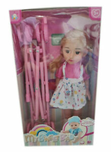 Doll-Stroller-Sweet-Baby-Pram-Buggy-With-Doll-Play-Set-For-Girls-Kids