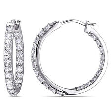 Amour Sterling Silver Created White Sapphire Hoop Earrings
