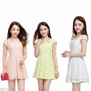 Girls-Lace-Style-Blossom-Dress-Cap-Sleeve-Age-12-13-14-15-Yellow-White-Peach