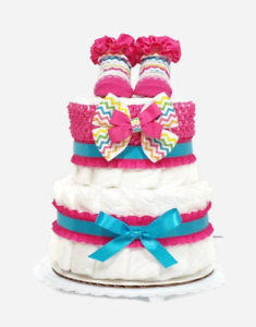 Pink /& Gold 2 Tier Elephant Diaper Cake Its a Girl Newborn Princess Baby Girl Shower Gift Centerpiece Pampers Size 1