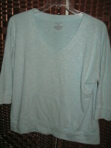 Sonoma Lifestyle blue vneck sweatshirt pullover XLwomens cotton/poly top relaxed