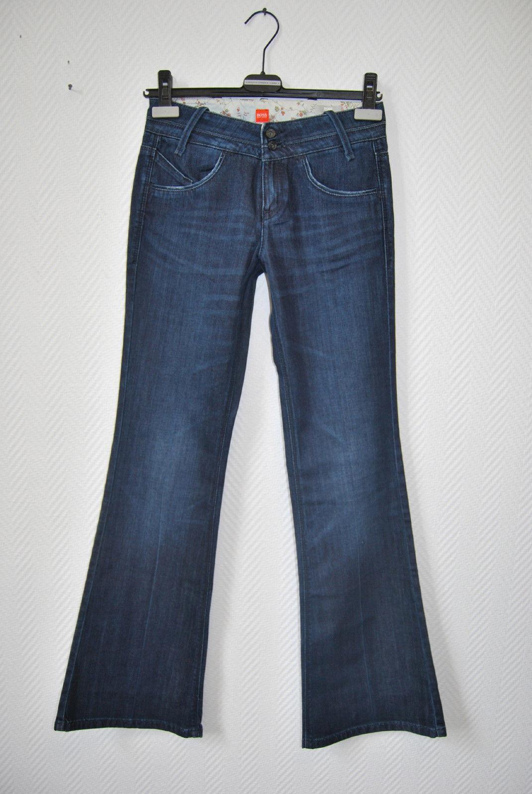 Hugo BOSS Jeans Hose 36 W27 L34 Dunkel Stretch FLArot Schlag 189 - EDEL  D1516