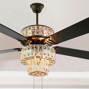 6 Light Ceiling Fan In Antique White And Champagne Crystal Pull Chain Ebay