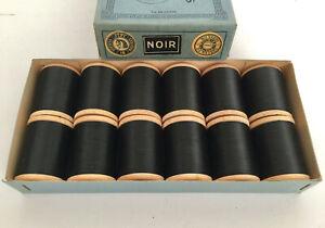 12-bobines-de-fil-de-coton-noir-N16-Thiriez-Lille-1900-boite-couture-collection