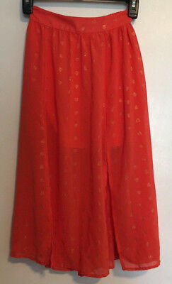 Women's Clothing Faithful Girls-disney-d-signed-size-m-orange-skirt-back-elastic-waist-gold-hearts-splits Bringing More Convenience To The People In Their Daily Life