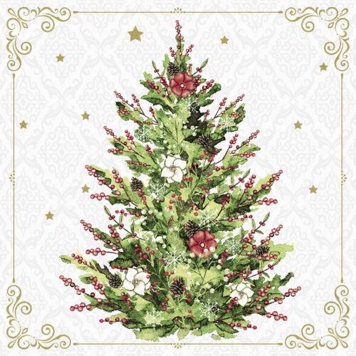 20 Cocktail Servietten Weihnachten bunter  Weihnachtsbaum 24cm