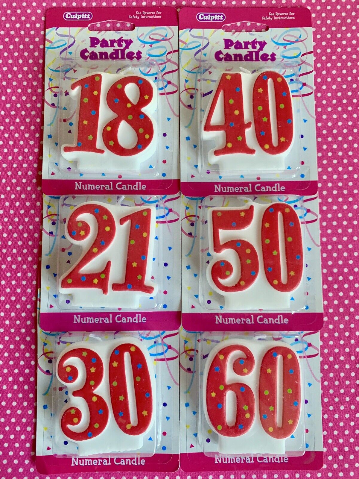 18 x Blue and White Birthday Candles /& Holders 60mm Birthday Cake Topper