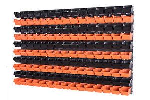 156-teiliges-SET-Lagersichtboxenwand-Stapelboxen-mit-Montagewand-Werkzeugwand