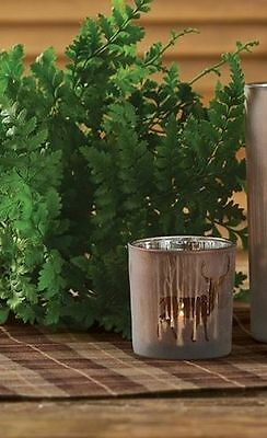 (1) Deer Forest Frosted Glass Country Cabin Home Votive Candle Holder