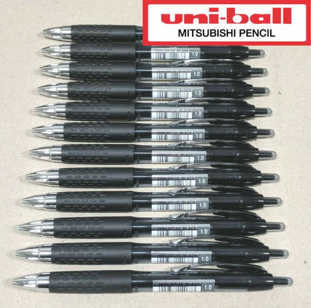 12 x Uni-ball Gel Ink Roller Ball Retractable Pen Black 1.0mm Bold UMN-207-10
